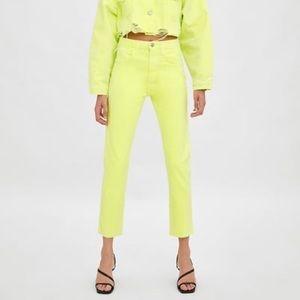 Zara - neon yellow high rise jeans - size 4